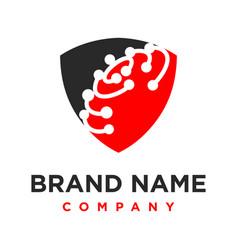 world technology shield logo design vector image