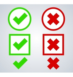 Yes or no icons on gray vector