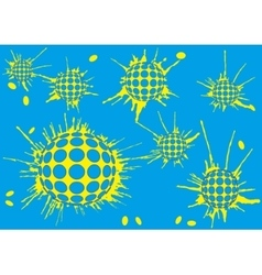 background halftone blot balls blue vector image