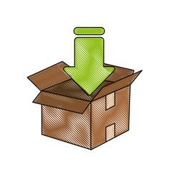 downloading in box vector image