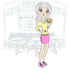 fashion hipster girl with a sandwich vector image vector image