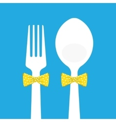 fork and spoon with butterfly tie on blue vector image vector image