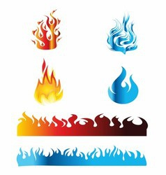 Icon Red and Blue Fire Flame vector image