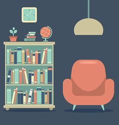Modern Design Interior Sofa And Book Cabinet vector image vector image