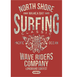 North shore hawaii classic surfing company vector