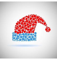 Single Santa Claus red hat icon made of circles vector image