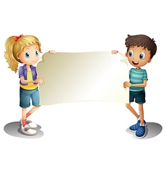 A girl and a boy holding an empty banner vector image vector image