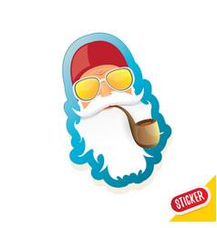 Bad rock n roll dj santa claus sticker or vector