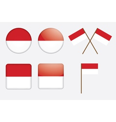 badges with flag of Indonesia vector image vector image
