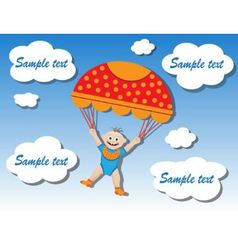 child on a parachute vector image vector image