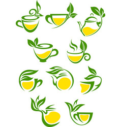 Green or herbal tea with lemon icon set vector image
