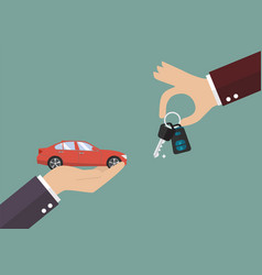 hand gives a keys to other hand with car vector image vector image