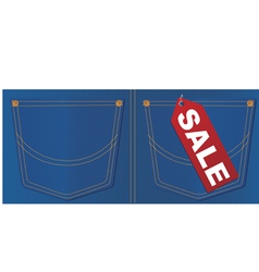 jeans pocket sale tag vector image vector image
