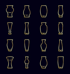 set of gold icons - vases for flowers on a dark vector image vector image