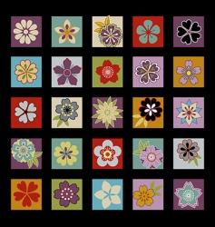 twenty five Asian flowers vector image
