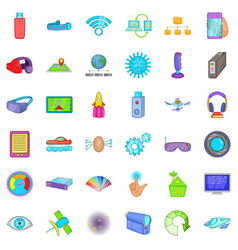 broadcasting technology icons set cartoon style vector image vector image