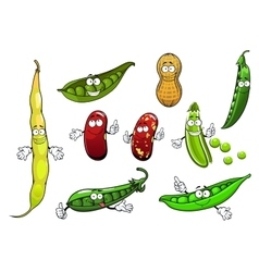 Cartoon isolated peas beans and peanut vector image vector image
