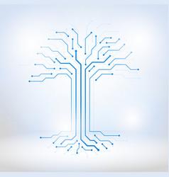 digital tree made of circuits vector image vector image