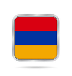 flag of armenia shiny metallic gray square button vector image