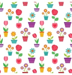 Seamless pattern of flowers in pots vector image vector image