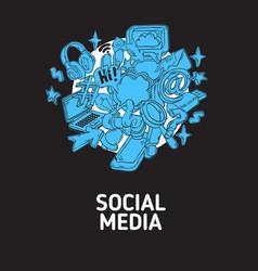 social media isolated artistic cartoon hand drawn vector image