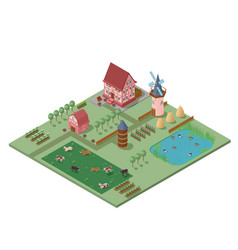 isometric agriculture rural composition vector image