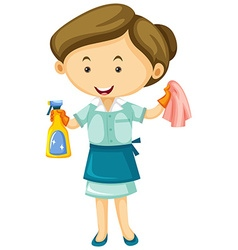 Maid with cleaner spray and cloth vector image