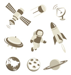 Space and air transport icons set vector image