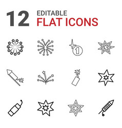 12 firework icons vector image