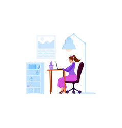 a woman works on a laptop or communicates in vector image