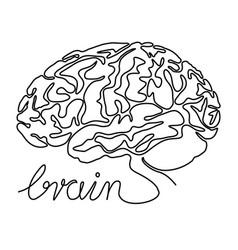 Abstract brain one line drawing vector