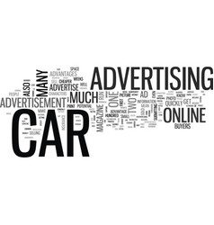 Advertise your car text word cloud concept vector