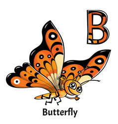 Alphabet letter b butterfly vector