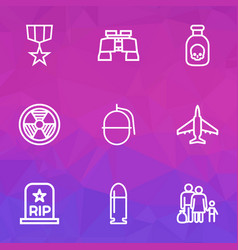 Army icons line style set with bullet bio hazard vector