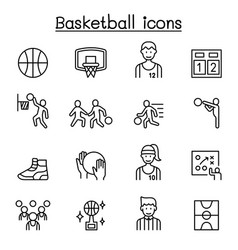 basketball icons set in thin line style vector image
