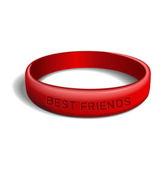 best friends red plastic wristband vector image