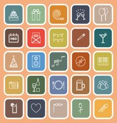 birthday line flat icons on orange background vector image