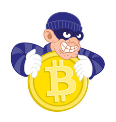 bitcoin thief vector image
