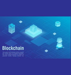 Blockchain technology structure abstract isometric vector