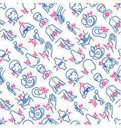 Body aches seamless pattern with thin line icons vector