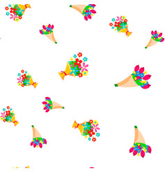 Bouquet flowers seamless pattern floal vector