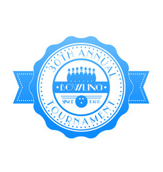 Bowling tournament badge emblem vector