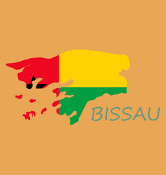 Brush style color flag of guinea bissau vertical vector