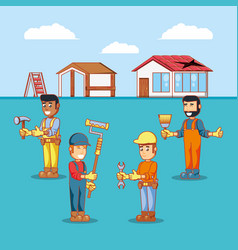 Builders characters with home repair icons vector