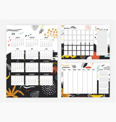Bundle of 2019 year calendar monthly and weekly vector