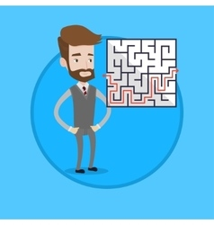 Businessman looking at the labyrinth with solution vector