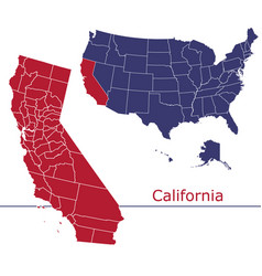 California map counties with usa map vector
