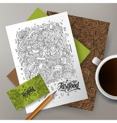 Cartoon cute hand drawn doodles Fast Food vector image