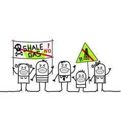 Cartoon people against shale gas extraction vector