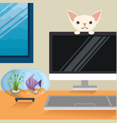 Cat and fish in aquarium scene vector